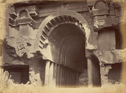 Exterior view of Buddhist Chaitya Hall (Cave XII), Bhaja Caves, Pune District